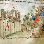 Le mura di Lucca assediate nella guerra con Pisa e la fortificazione del «Chastello Passarino» (dalle Croniche di G. Sercambi, in Archivio di Stato di Lucca, Manoscritti, 107)