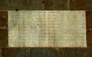 Epigrafe con iscrizione celebrativa di Firenze sulla facciata del Palazzo del Capitano del Popolo (oggi Palazzo del Bargello, datata 1255)