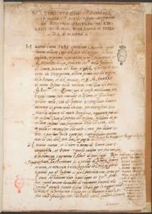Capitoli et ordini dell'Academia et Compagnia dell'Arte del Disegno, 1563. Firenze, Biblioteca Nazionale Centrale, Magliabechiani, mss. II-I-39, c. 1r.