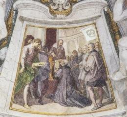 Bernardino Poccetti, Il duca Cosimo I dei Medici consegna al priore Vincenzo Borghini i Capitoli dell'Accademia, 1609. Firenze, Ospedale degli Innocenti