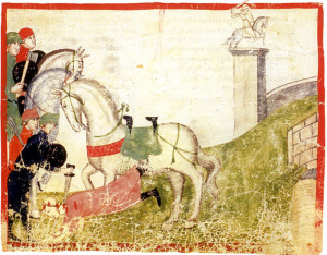 L'uccisione di Buondelmonte. In Giovanni Villani, Nuova Cronica, ms. Chigiano L VIII 296 (Roma, Biblioteca Vaticana)