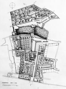 Planimetria del quartiere di Sorgane (1957). Tratta da: «Urbanistica», n. 39, 1963