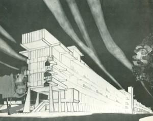 Leonardo Savioli, prospettiva dell'edificio A (1962). Tratta da: M. Bottero, Leonardo Savioli, «World Architecture», n. 3, 1966