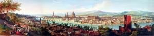 Veduta del fiume Arno nel tratto compreso tra la pescaia di S. Niccolò e il Ponte Vecchio (metà XIX sec.). Immagine tratta dal sito dell'Archivio Storico del Comune di Firenze