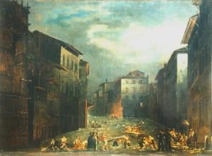 Olio su tela dell'alluvione del 1844 al canto degli Alberti. Immagine tratta dal sito dell'Archivio Storico del Comune di Firenze